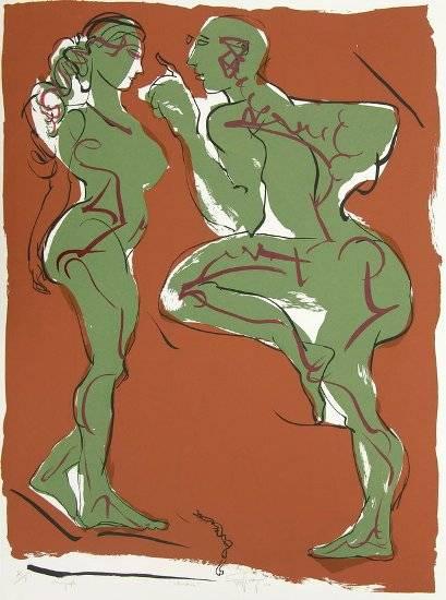 Interaction, print by Jatin Das
