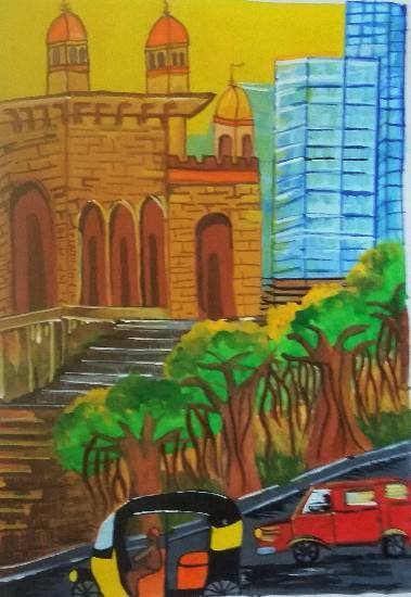 City, painting by Ipsha Chiragra Chakrabarty