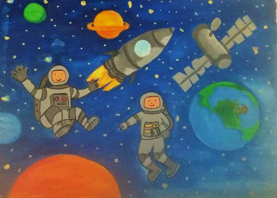 painting by Ipsha Chiragra Chakrabarty - Outer space