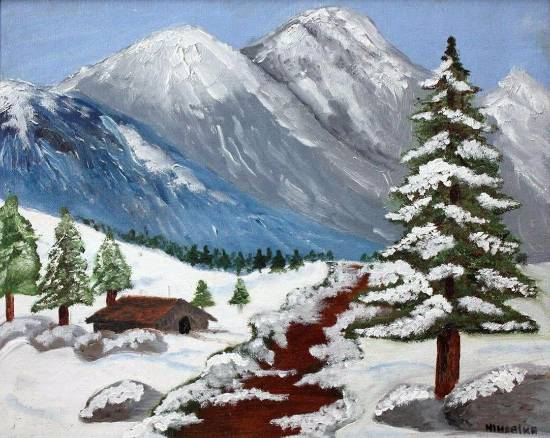 Painting  by Niharika Supratik Ghosh - Snowy Mountains