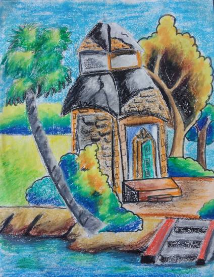 Temple, painting by Nilesh Harendra Mishra