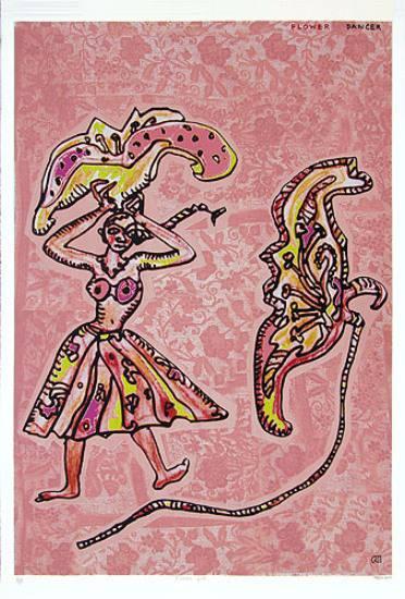 Flower Dancer, print by Jogen Chowdhury