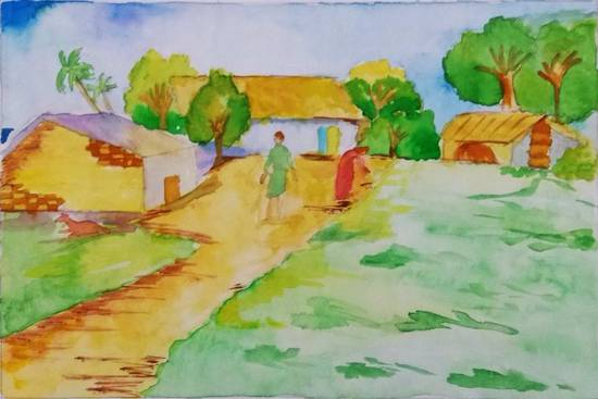 Painting  by Rashi Rahul Lavekar - Scenery - Village
