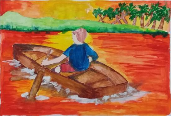 Painting  by Rashi Rahul Lavekar - Evening Sunset - Boating