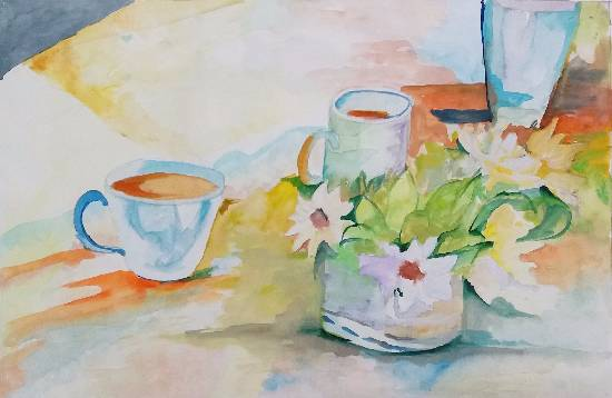Morning Tea, painting by Rashi Rahul Lavekar
