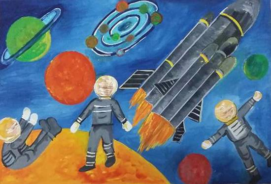 painting by Ritujaa Yogendra Khanolkar - Outer space