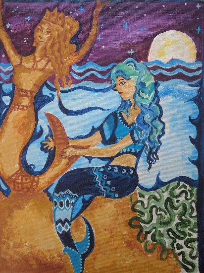 The mermaid on the cove, painting by Rucha Vishwesh Damle