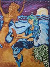 Painting  by Rucha Vishwesh Damle - The mermaid on the cove