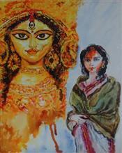 Mahishashurmardini, Painting by Rakhi Chatterjee