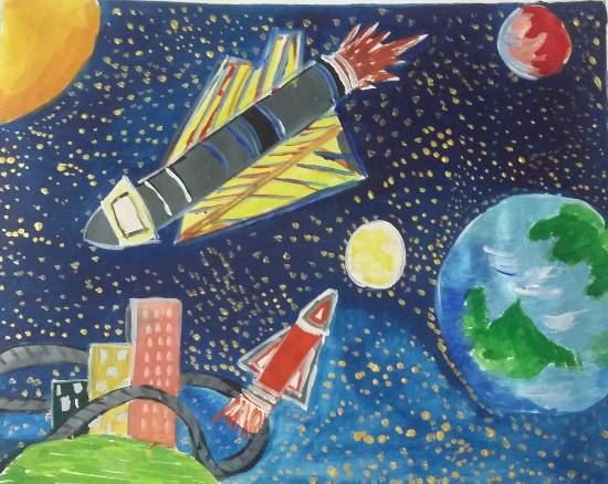 Outer space, painting by Sahaj Sohi