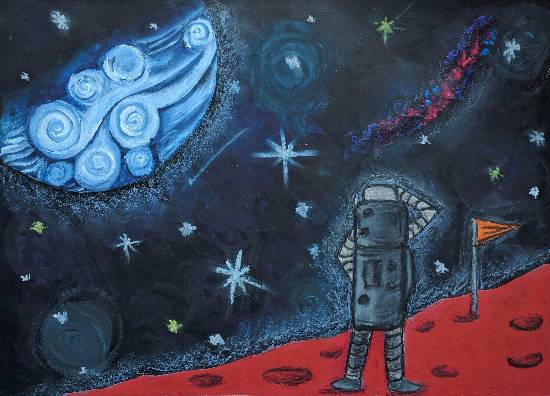 Painting  by Sameeksha Sanjoy Sarkar - When I reach Mars