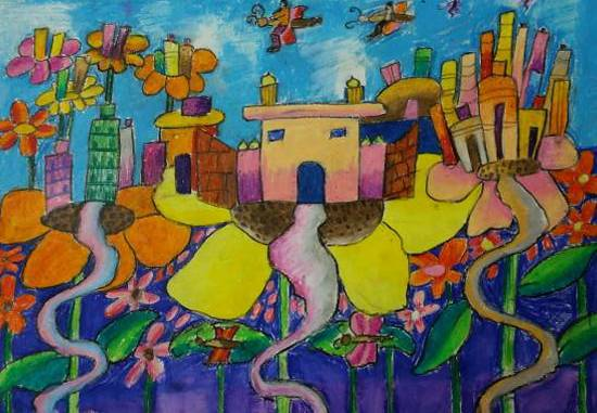Painting  by Sara Chandrashekhar Naik - Flower city