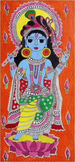 Madhubani Krishna, painting by Ratnamala Indulkar