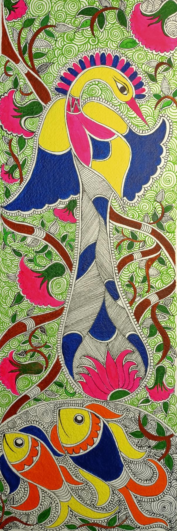 Madhubani Peacock, painting by Ratnamala Indulkar