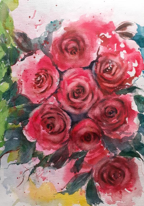 Red Roses, painting by Ratnamala Indulkar