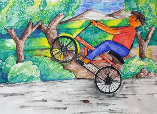 Painting  by Shreyans Sachin Shah - Cycle ride