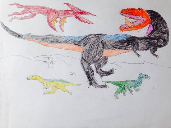 painting by Siddharth Basuray - Dinosaurs Colour