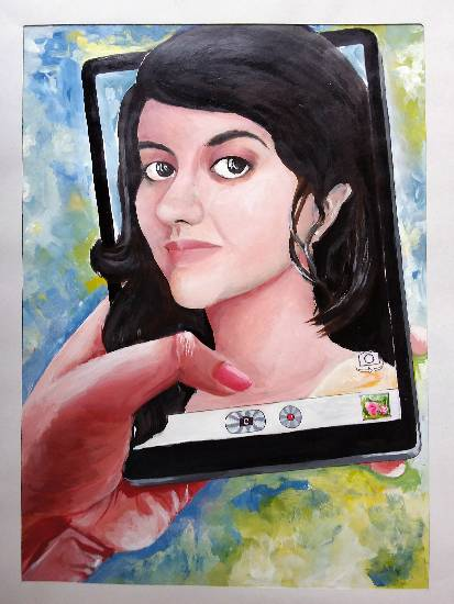 Painting  by Ahana Mukherjee - Me and my Selfie