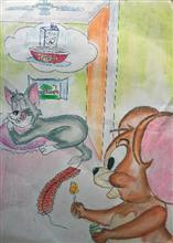 Painting  by Aneek Jana - Tom and Jerry