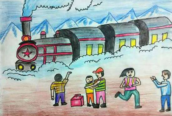 Painting  by Ankit Basak - Railway Journey