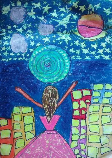 Painting  by Aradhya Mehta - My journey into outer space