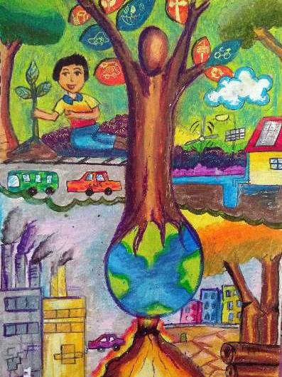 Painting  by Aryan Mehta - Save Trees