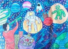 Painting  by Aryan Mehta - My outer space journey