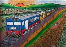 Painting  by Aryan Suvarna - Memorable Train Journey