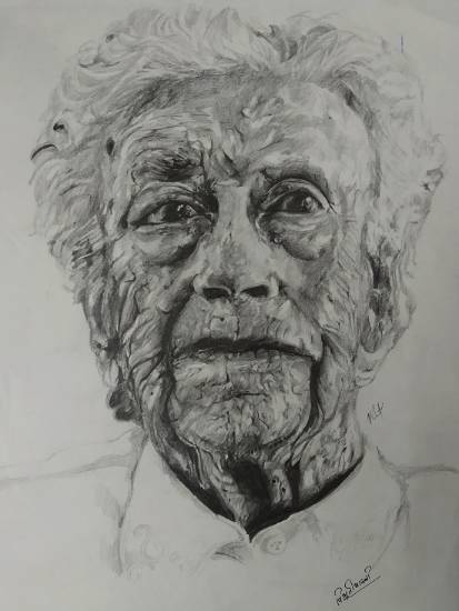 Painting  by Vibhuti Pravin Tharali - Old Man
