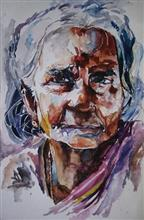Painting  by Vibhuti Pravin Tharali - Old tribal woman