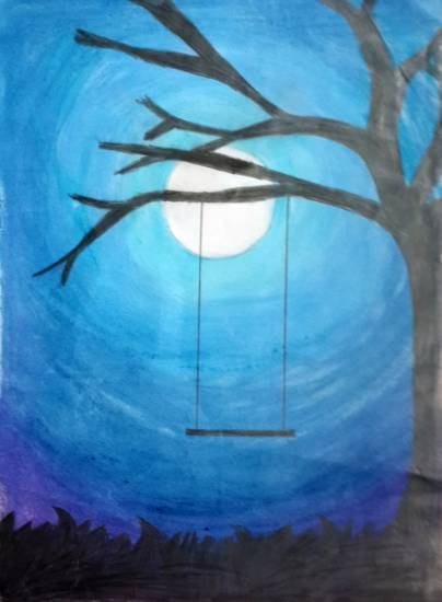 Painting  by Tanmay Sameer Karve - The Moonlight Swing