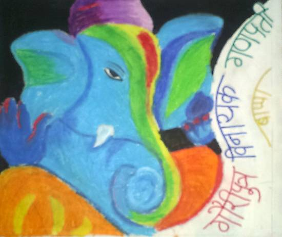 Painting  by Tanmay Sameer Karve - Colourful Ganesh