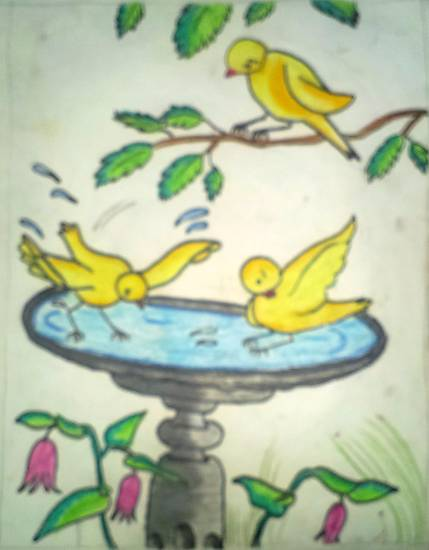 Painting  by Tanmay Sameer Karve - Thirsty Birds