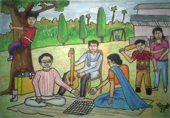 Painting  by Tanmay Sameer Karve - Family Picnic