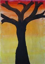 Painting  by Tanmay Sameer Karve - Tree in Twilight