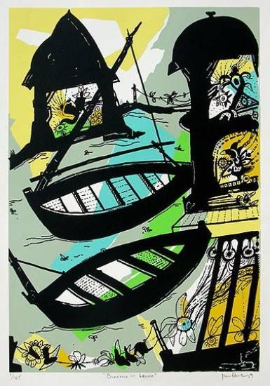 Banaras in Lemon, Limited Edition Print by Artist Manu Parekh