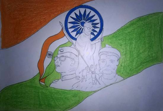 painting by Vedant Satish Koli - Indian freedom fighters