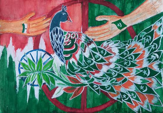 Painting  by Ifrah Naaz - India-Pakistan Peace