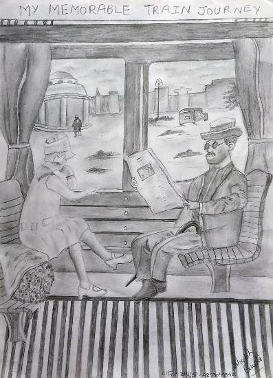 Painting  by Shubh Gupta - My memorable train journey