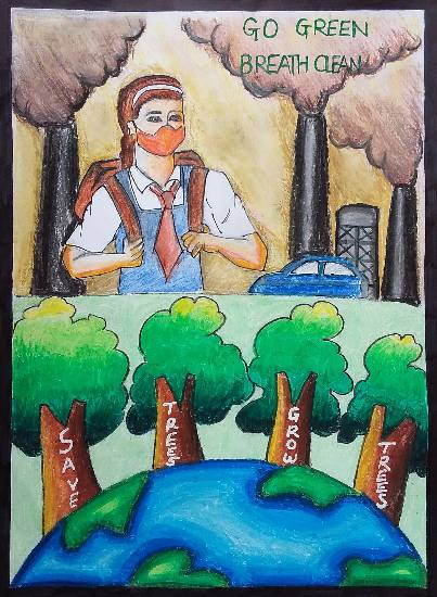 painting by Tanvi Rajesh Ghadi - Save Trees Grow Trees