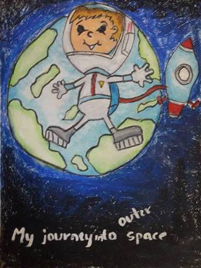 painting by Aastha Mahesh Surve - My journey into outer space