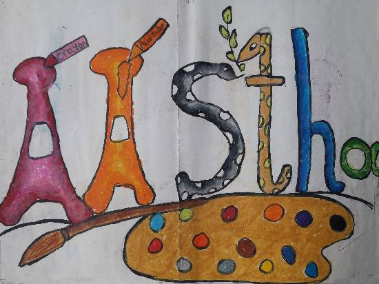 painting by Aastha Mahesh Surve - Name painting