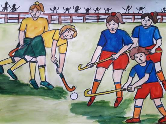 Painting  by Aastha Mahesh Surve - National game- hockey