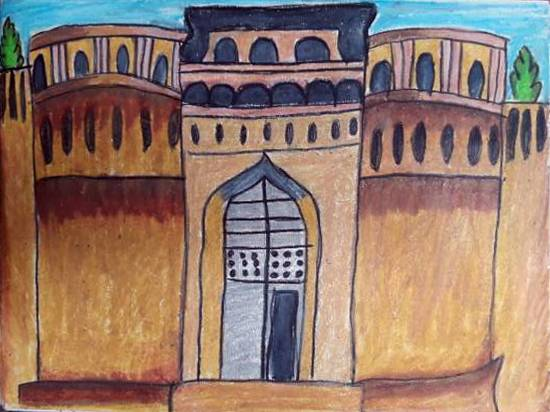 Painting  by Aastha Mahesh Surve - The great Shaniwar Wada, Pune