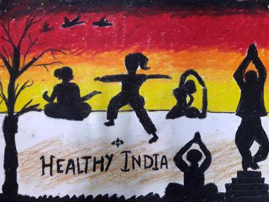 Healthy India, painting by Aastha Mahesh Surve