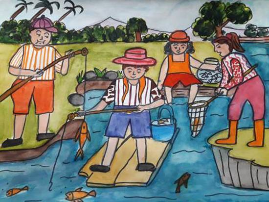 Painting  by Aastha Mahesh Surve - A fishing day