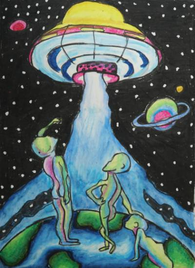 Painting  by Aastha Mahesh Surve - My Aliens on Earth