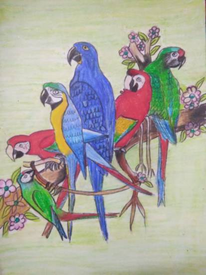 Painting  by Aastha Mahesh Surve - Birds