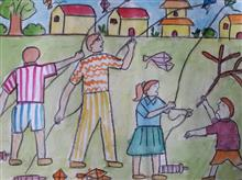 Painting  by Aastha Mahesh Surve - Kite Flying