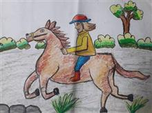 Painting  by Aastha Mahesh Surve - Horse riding
